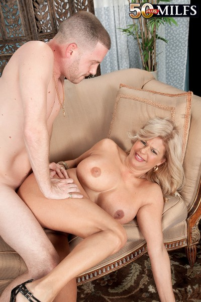 busty mature Miss Deb gets fucked by young stud at 50 Plus MILFs