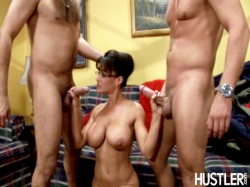 Lisa Ann giving 2 guys a handjob in Hustler Who's Nailin' Paylin